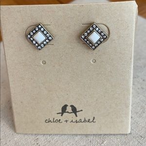 Howlite and pave square studs